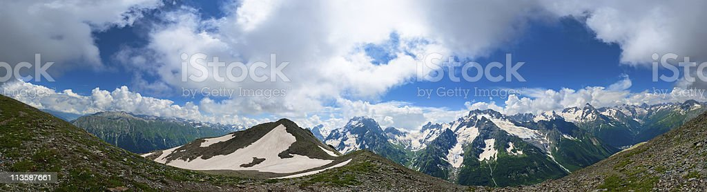 Panorama of Summer Mountains in Caucasus stock photo