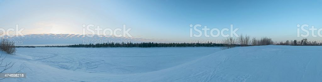 Panorama of sunrise in the Siberian taiga stock photo