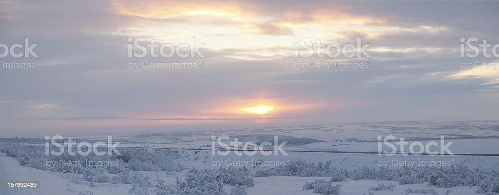 Panorama of sunset in the Arctic Circle stock photo