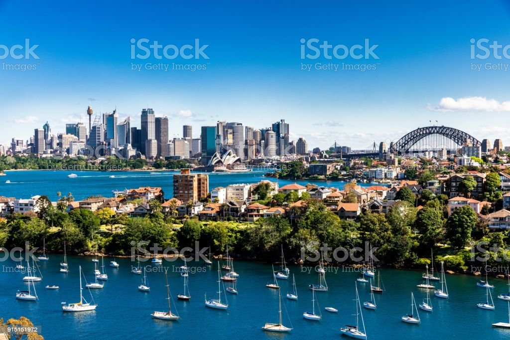 Panorama of Sydney City and Harbour on a bright clear day royalty-free stock photo