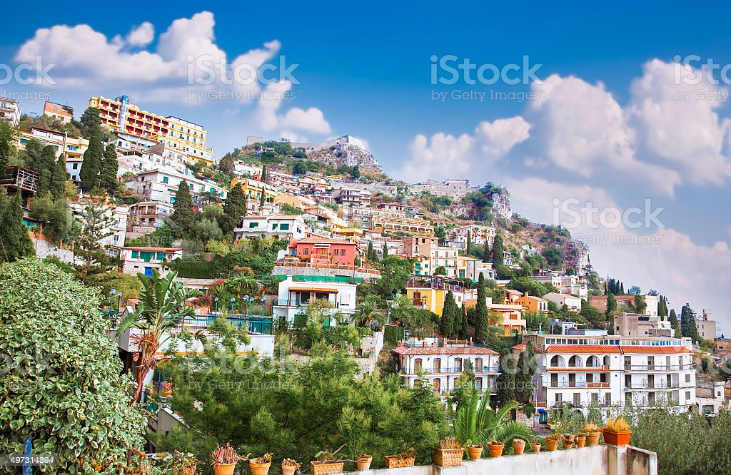 Panorama of Taormina, Sicily stock photo