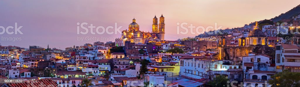 Panorama of Taxco city at sunset, Mexico stock photo
