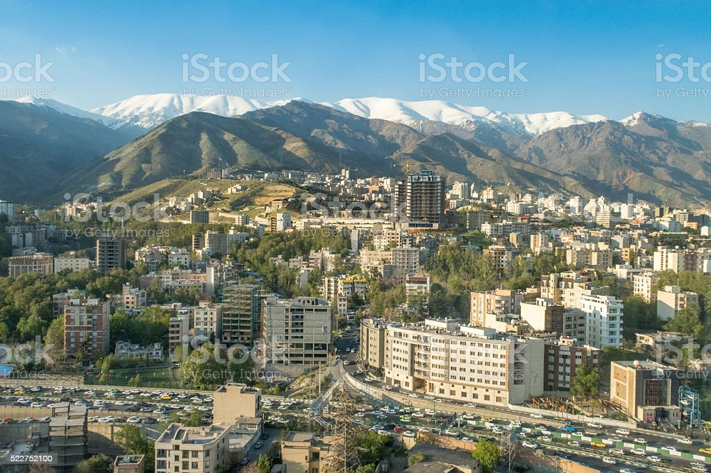 Panorama of Tehran, Iran stock photo