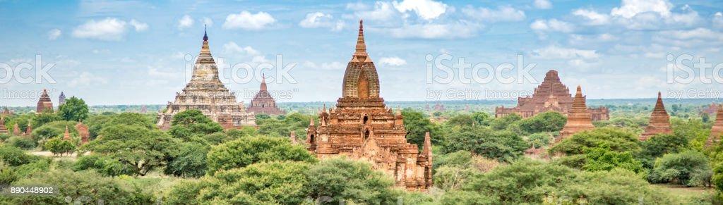 Panorama of Temples in Bagan Myanmar stock photo