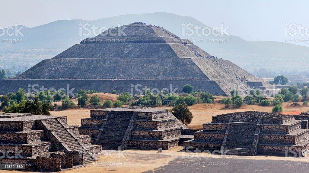 Panorama of Teotihuacan Pyramids stock photo