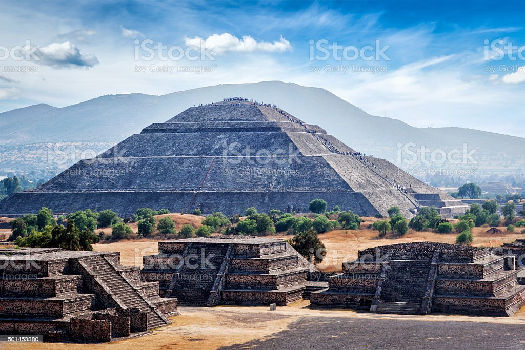Panorama of Teotihuacan Pyramids stock photo