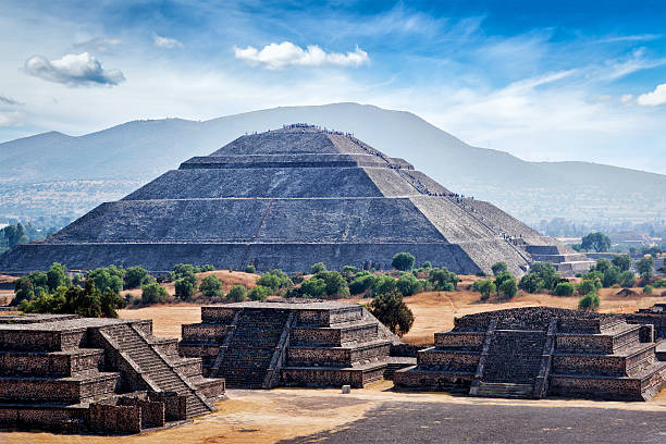 panorama of teotihuacan pyramids - mexico stock photos and pictures