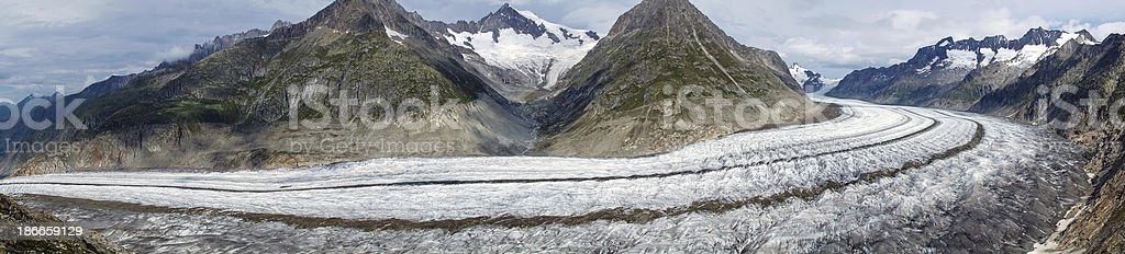 Panorama of the Aletsch glacier royalty-free stock photo