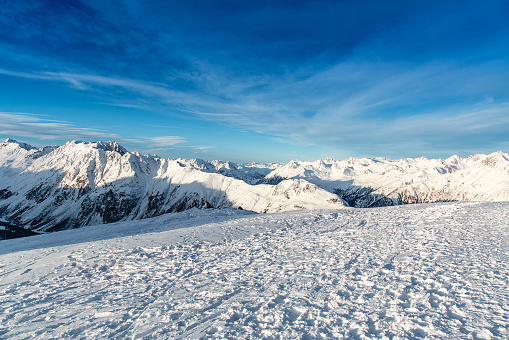 Panorama of the Alpine mountains in the evening at the ski resort of Ischgl, Austria.