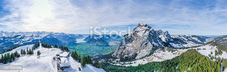 Panorama of the Alps in Switzerland. The top of Miten. Ski resort. Winter skiing region.