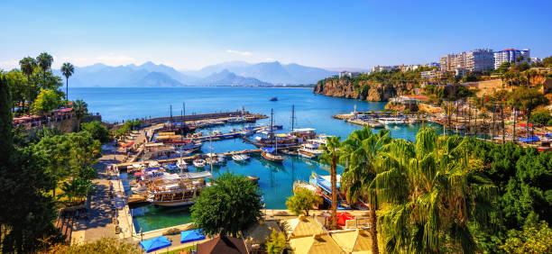 Panorama of the Antalya Old Town port, Turkey stock photo