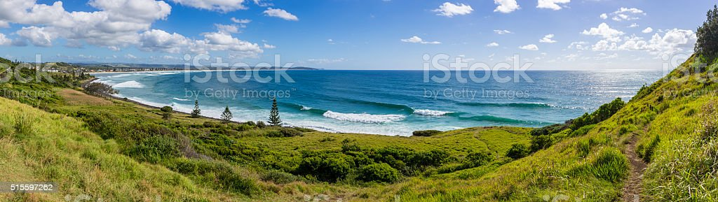 Panorama of the beach at Lennox Head, NSW, Australia stock photo