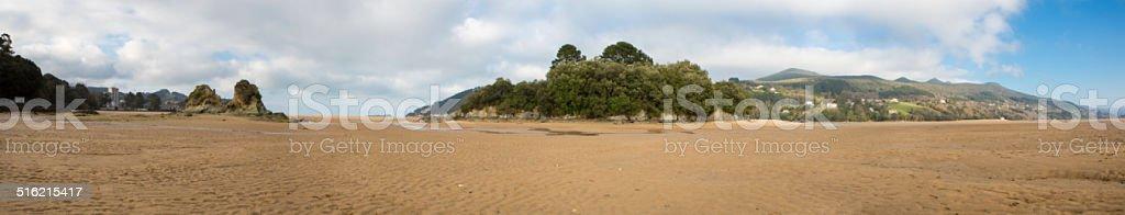 Panorama of the beach in Mundaka stock photo