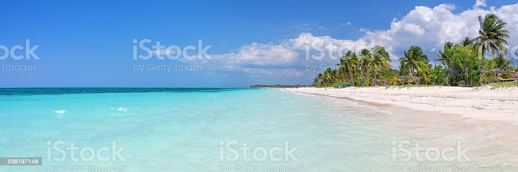 Panorama of the beach of Cayo Levisa island, Cuba stock photo