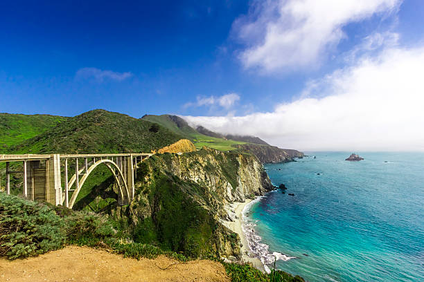 Panorama of the Bixby Bridge on the California coastline stock photo