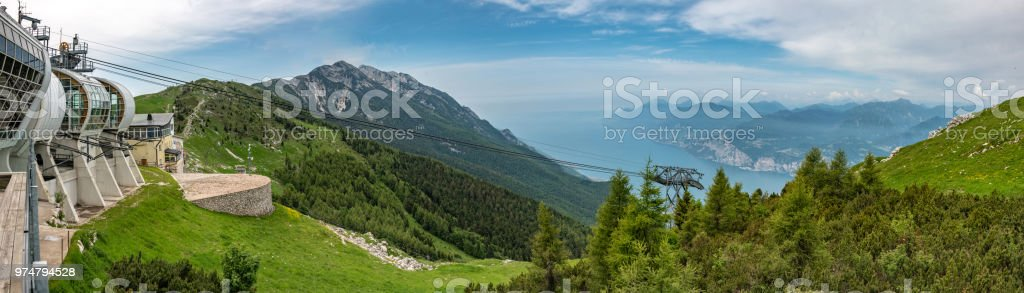 Panorama of the cable car from Lake Garda up Monte Baldo in Italy stock photo