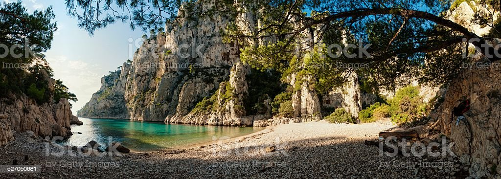 HDR Panorama of the 'Calanques d'En Vau' at French Riviera stock photo