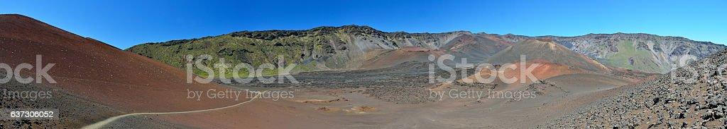 Panorama of the caldera of Haleakala volcano, Maui island, Hawaii stock photo