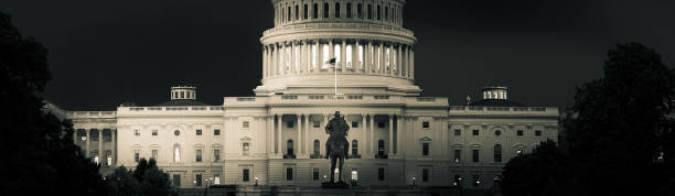 Panorama of the Capitol of the Unites States in dramatic black and white stock photo