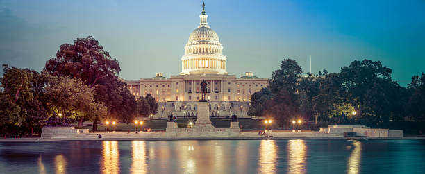 Panorama of the Capitol of the Unites States in evening light stock photo