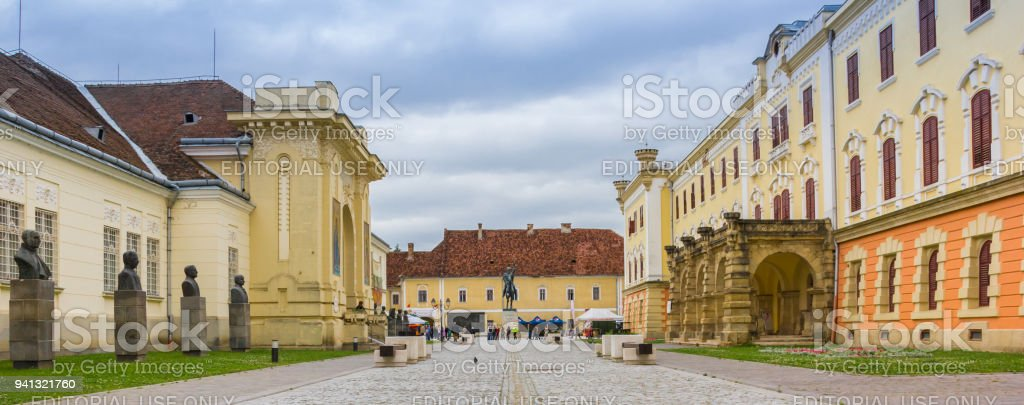Panorama of the Carolina citadel in Alba Iulia, Romania stock photo