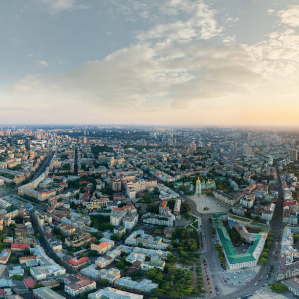 Panorama of the center of Kiev city at sunset. View of St. Sophia Cathedral stock photo