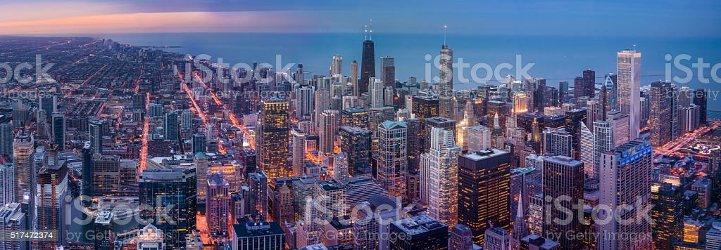Panorama of the Chicago skyline after sunset stock photo
