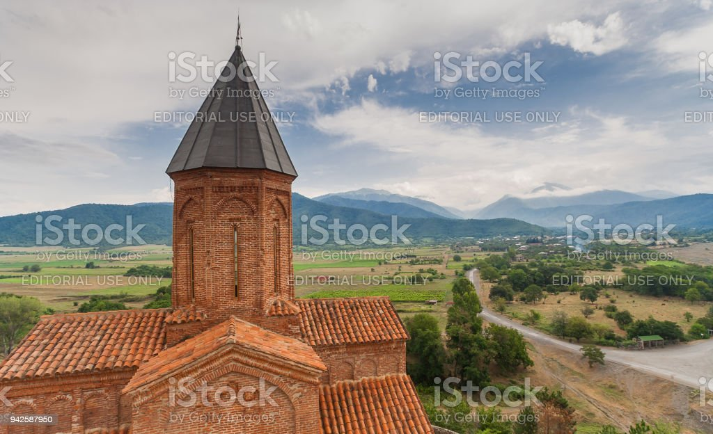Panorama of the church of the Archangels in Kakheti, Georgia stock photo