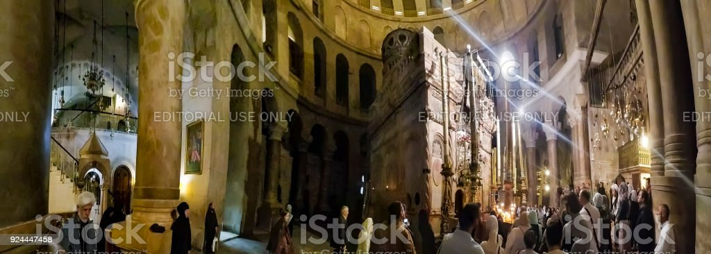 Panorama of the Church of the Holy Sepulchre, considered as the greatest Christian shrine in the world. Pilgrims at the Church of the Holy Sepulchre stock photo