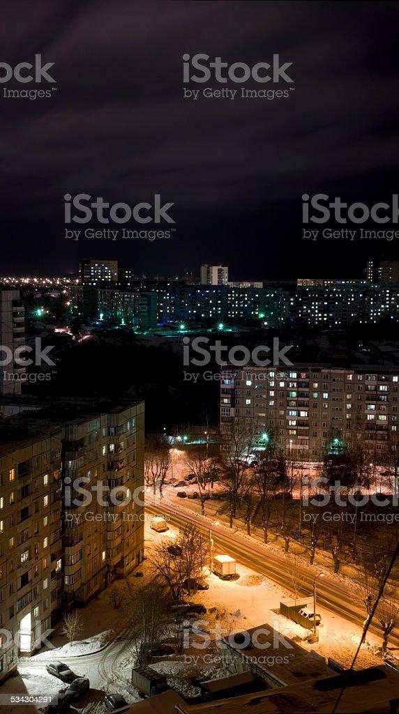 panorama of the city at night sleeping area Perm stock photo