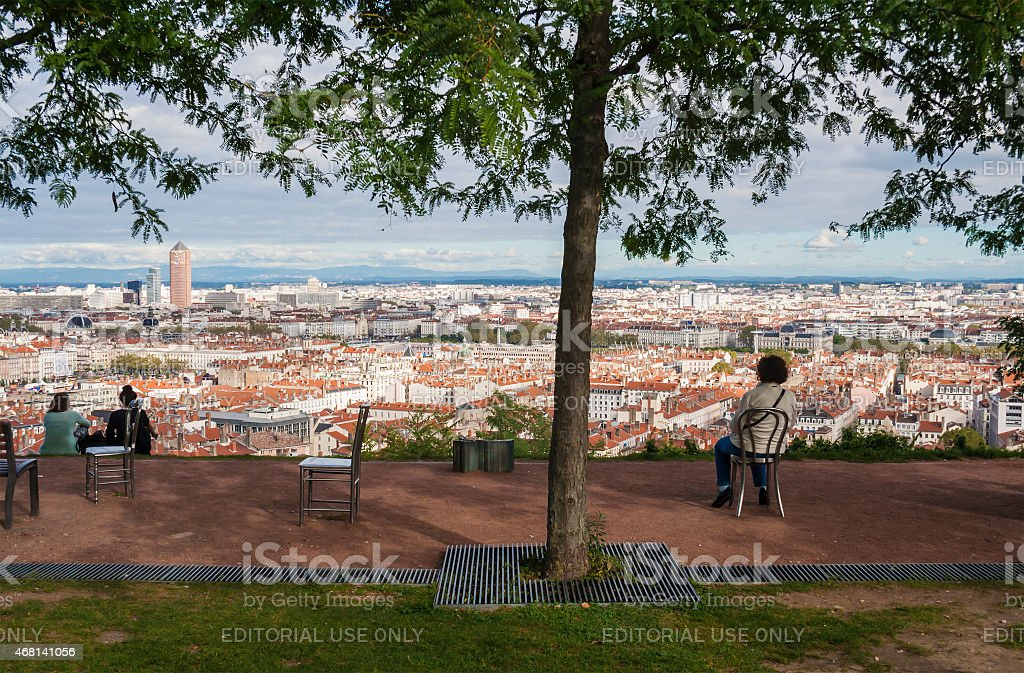 Panorama of the city Lyon stock photo