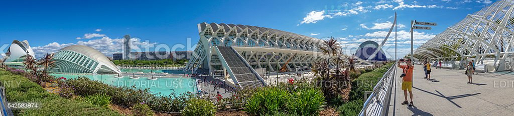 Panorama of the City of Arts and Sciences of Valencia stock photo