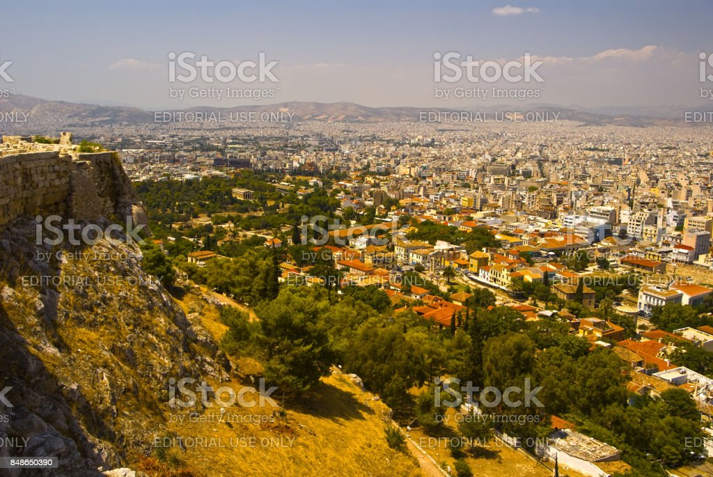 Panorama of the city of Athens in Greece, the Beautiful landscape of the ancient capital'n stock photo