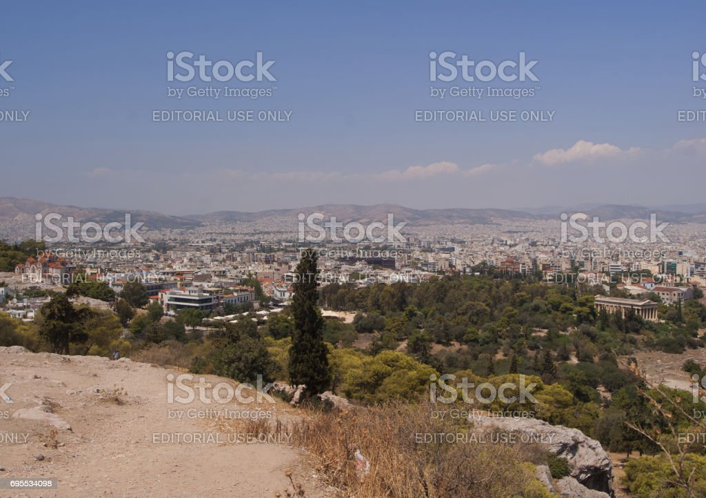 Panorama of the city of Athens in Greece, view from the mountain. The ancient city at a glance.'n stock photo