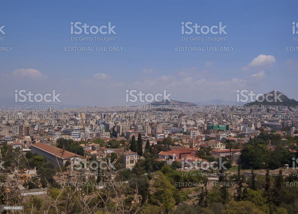 Panorama of the city of Athens in Greece, view from the mountain.'n stock photo
