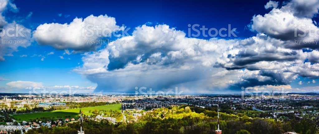 Panorama of the city of Krakow from Kosciuszko Mound. royalty-free stock photo