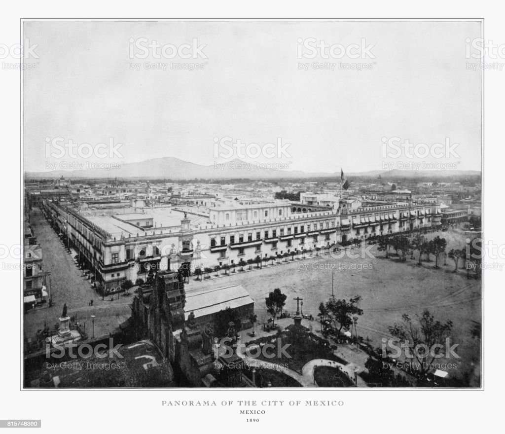 Panorama of the City of Mexico, Antique Mexican Photograph, 1893 stock photo