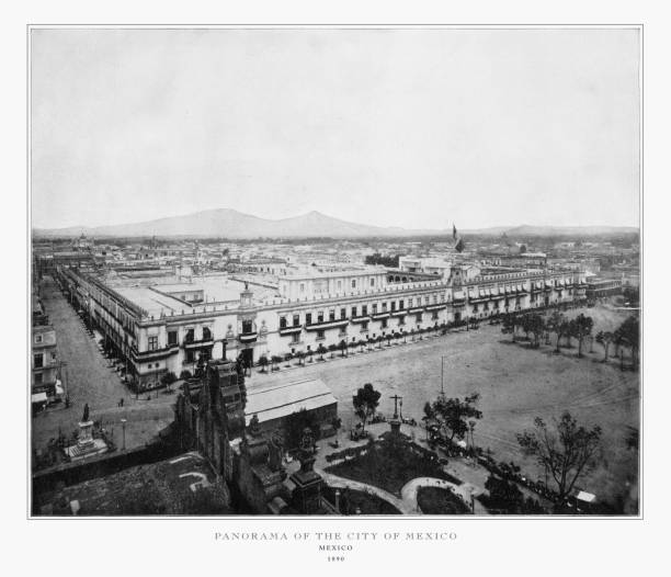Panorama of the City of Mexico, Antique Mexican Photograph, 1893 Antique Mexican Photograph: Panorama of the City of Mexico, 1893: Original edition from my own archives. Copyright has expired on this artwork. Digitally restored. 20th century history stock pictures, royalty-free photos & images