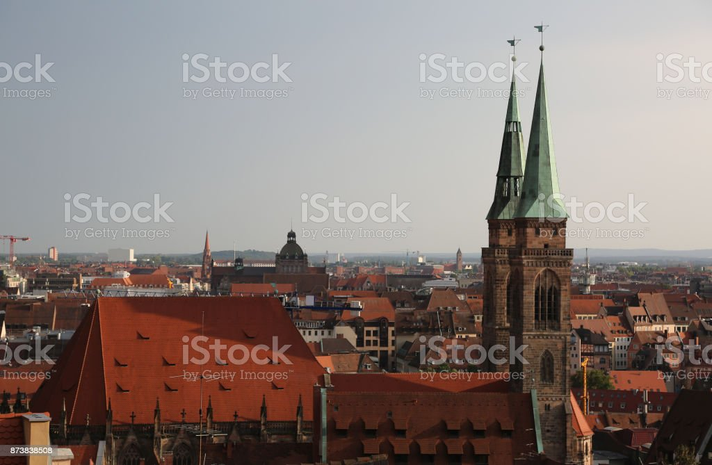 Panorama of the city of Nuremberg in Germany with many houses an stock photo