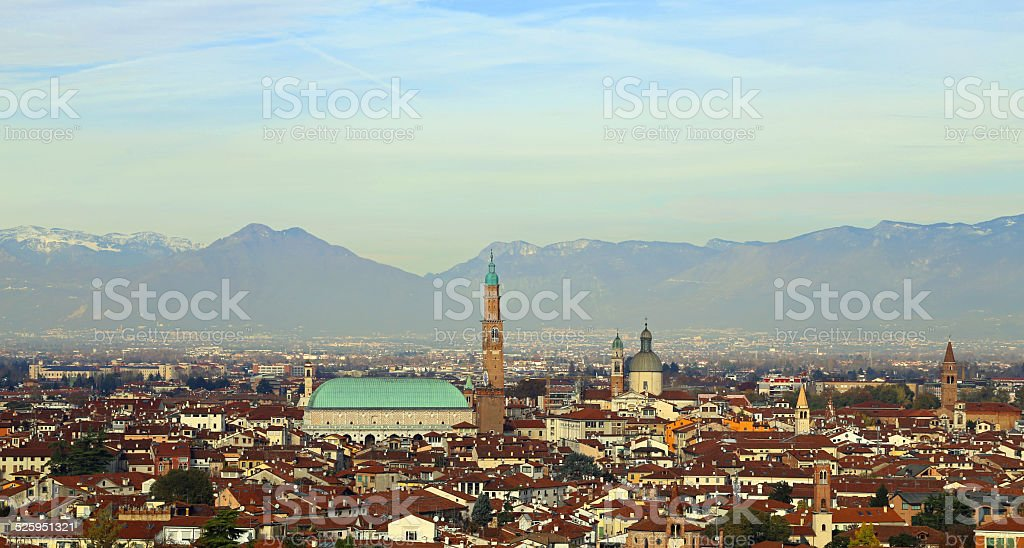 Panorama of the city of vicenza in Italy stock photo