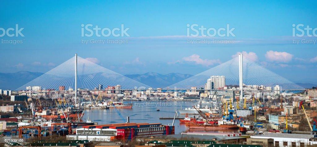 Panorama of the city of Vladivostok stock photo