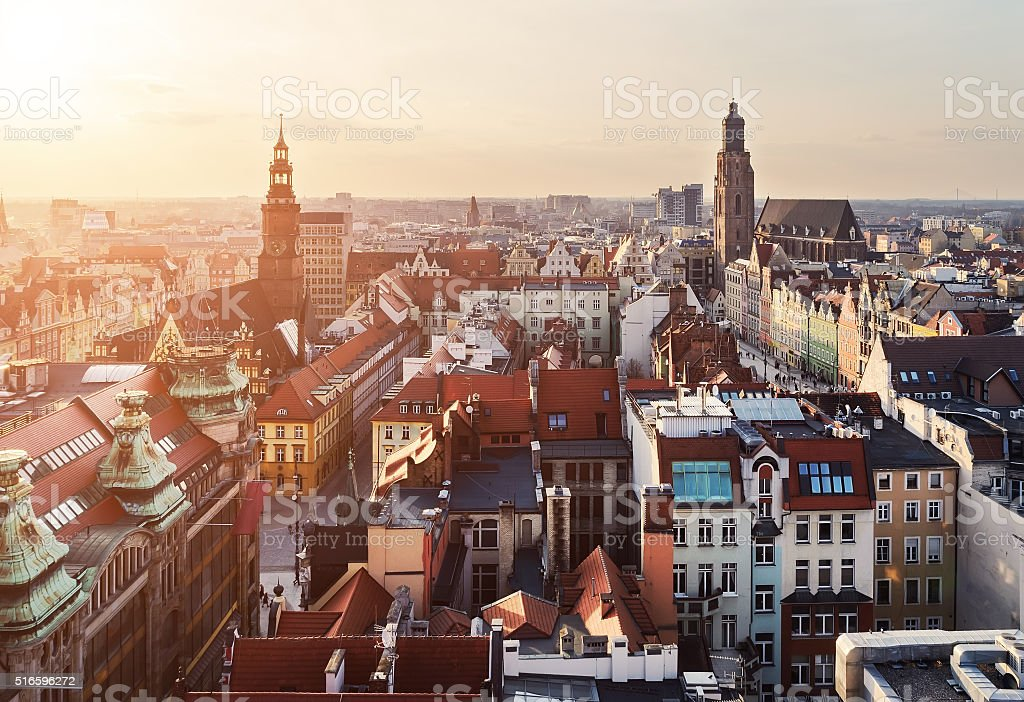 Panorama of the city skyline at sunset Wroclaw, Poland stock photo