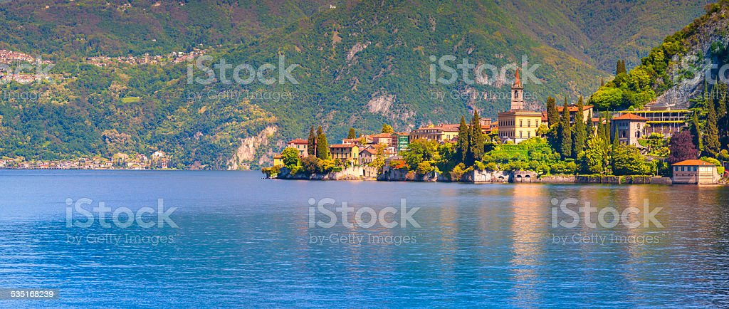 Panorama of the city Varenna stock photo