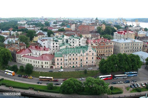 istock Panorama of the city with beautiful houses with multi-colored roofs from the tower of Olaf, the city of Vyborg, Russia. Top view 1090533456