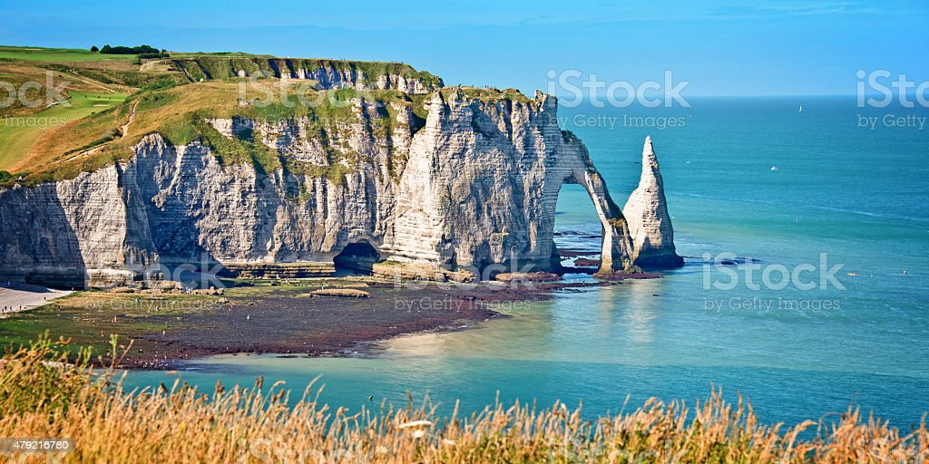 Panorama of the cliff of Etretat, Normandy, France stock photo