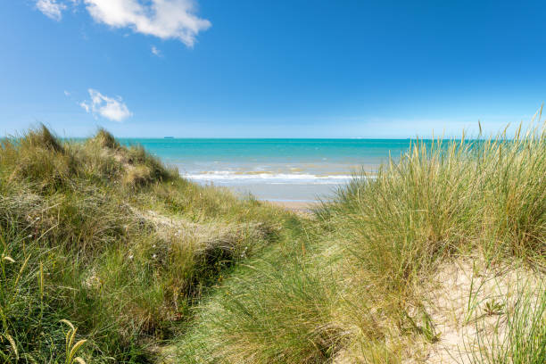 panorama of the coast near the city of Calais landscape of the coast in the north of France hauts de france stock pictures, royalty-free photos & images