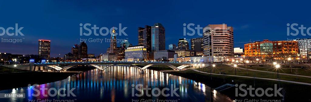 Panorama of the Columbus skyline stock photo