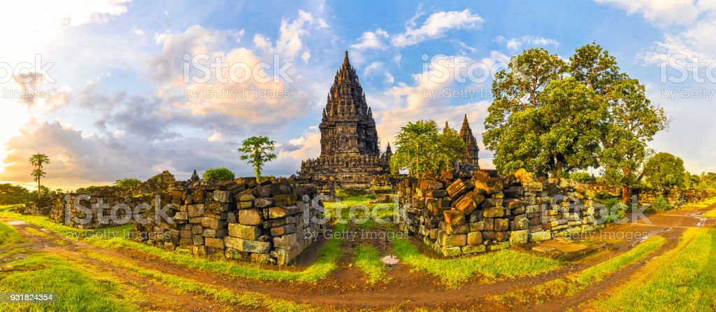 Panorama of the complex of ancient temples of Prambanan at sunset stock photo