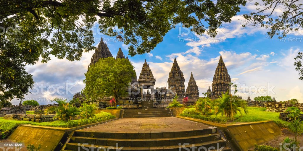 Panorama of the complex of ancient temples of Prambanan stock photo