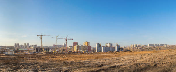 Cтоковое фото Panorama of the construction site of a residential microdistrict